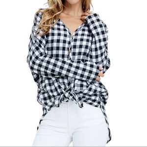Buffalo Plaid Front Tie Tunic Top